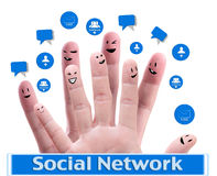 Happy group of finger faces. Social network concept of Happy group of finger faces  with speech bubbles Royalty Free Stock Images
