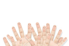 Happy group of finger faces as social network. On white background Royalty Free Stock Photos