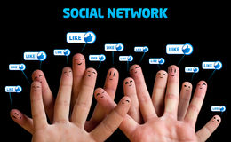 Happy group of finger smileys. Social network theme Stock Images