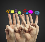 Happy group of finger smileys Royalty Free Stock Image