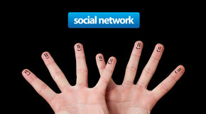 Happy group of finger smileys, social network Stock Photo
