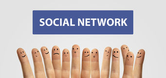 Happy group of finger with social chat sign Stock Image