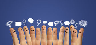 Happy group of finger with social chat sign royalty free stock photos