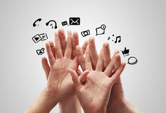 Happy group of finger with social chat sign Stock Photos