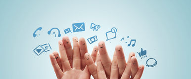 Happy group of finger with social chat sign Stock Photo