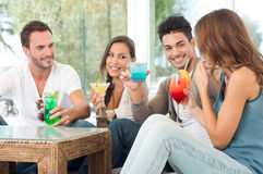 Happy Group Of Friends Drinking Juice Stock Photography