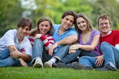 Happy group of friends outdoors Royalty Free Stock Photos
