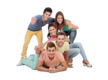 Happy group of friends saying Ok Stock Photography