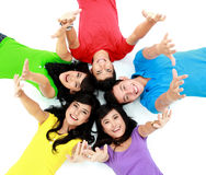 Happy group of friends smiling Stock Photo