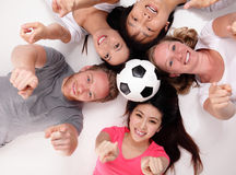Happy Group of friends with soccer Stock Photo