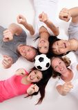 Happy Group of friends with soccer Royalty Free Stock Photo