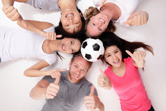 Happy Group of friends with soccer Stock Images