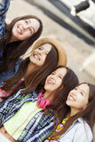 Happy group of girls taking a self portrait Stock Photos