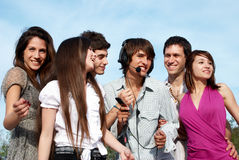Happy group of guys and girls Royalty Free Stock Photography