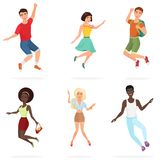 Happy group of multi ethic teen friends jumping. Cartoon people character vector illustration. Stock Photo