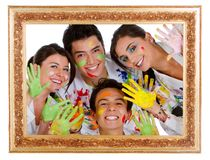 Happy group of painters Royalty Free Stock Images