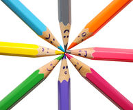 Happy group of pencil faces. As social network isolated on white Stock Photos