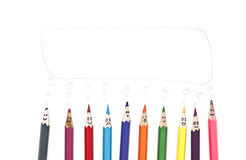 Happy group of pencil faces Royalty Free Stock Photo