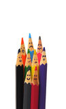 Happy group of pencil faces as social network. Isolated on white Stock Photo