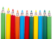 Happy group of pencil faces Stock Images