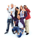 Happy group of people with arms up Stock Image