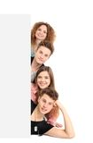 Happy group of people with a banner Royalty Free Stock Photography