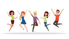 Happy group of people, boy, girl jumping on a white background. The concept of friendship, healthy lifestyle, success. Vector illu Royalty Free Stock Image