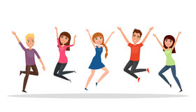 Happy group of people, boy, girl jumping on a white background. The concept of friendship, healthy lifestyle, success. Vector illu Royalty Free Stock Photo