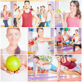 Happy group people doing sports - fitness, exercise, pilates, gy. Collage with several photos of happy group of people doing sports - fitness, exercise, pilates Stock Photos