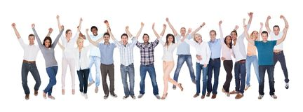Happy group of people dressed in casual stock photography