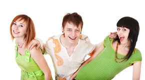 Happy group people in green. Isolated Stock Photo