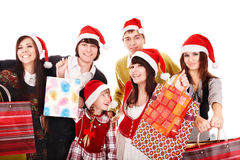 Happy group people in santa hat . Stock Images