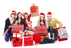 Happy group people in santa hat . Royalty Free Stock Photos