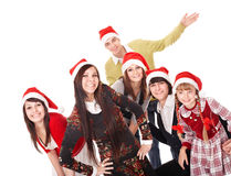 Happy group people in santa hat . Royalty Free Stock Images