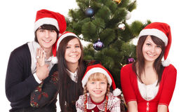 Happy group people in santa hat . Stock Image