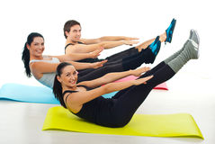 Happy group of people stretching Royalty Free Stock Photos