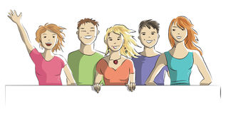 Happy group of people on a white background. The concept - vector doodle Royalty Free Stock Photo