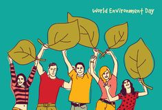 Happy group people world environment day green leaf. Color vector illustration. EPS8 Stock Image