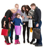 Happy group of shopping people holding bags Stock Image