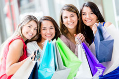 Happy group of shopping women Royalty Free Stock Image