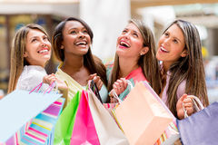Happy group of shopping women Stock Image