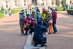 Happy Group Shot, Asian Tourists, Delhi, India Royalty Free Stock Photos