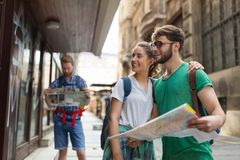Happy group of students on adventure. Happy group of students on sightseeing and travel adventure Stock Photography