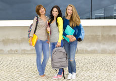 Happy group of students. Happy group of beautiful female students in the school Royalty Free Stock Photo