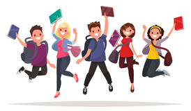 Happy group of students are jumping on a white background. Cheer Royalty Free Stock Photos