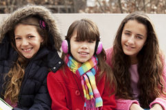 Happy group of students. Smiling outdoors Stock Photos