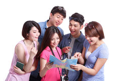 Happy group travel people. Hold camera, passport and map. Isolated on white background, asian Stock Photography