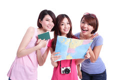 Happy group travel women Stock Images