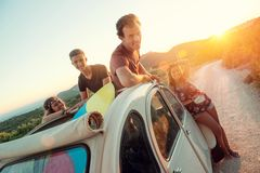 Happy group on vacations stock image