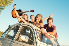 Happy group on vacations royalty free stock photos